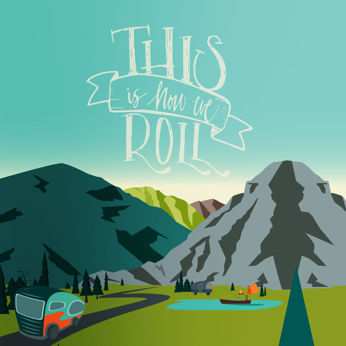 Illustration of an RV driving down a rode in the mountains – This is how we roll